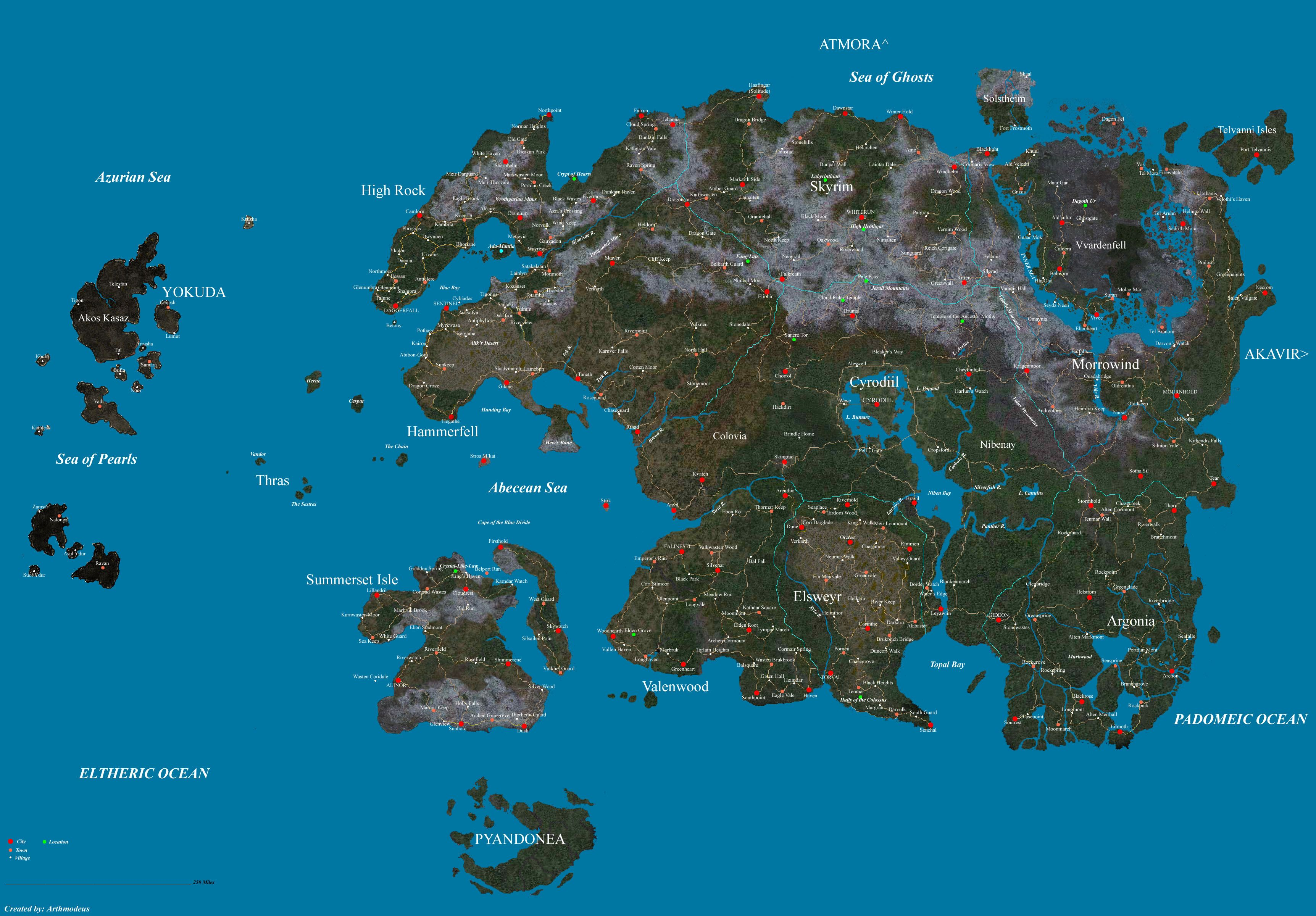 Elder scrolls map of all of known nirn. Includes tamriel
