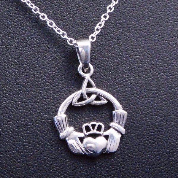 Celticirish triquetra claddagh necklace irish jewelry triquetra celticirish triquetra claddagh necklace aloadofball Image collections