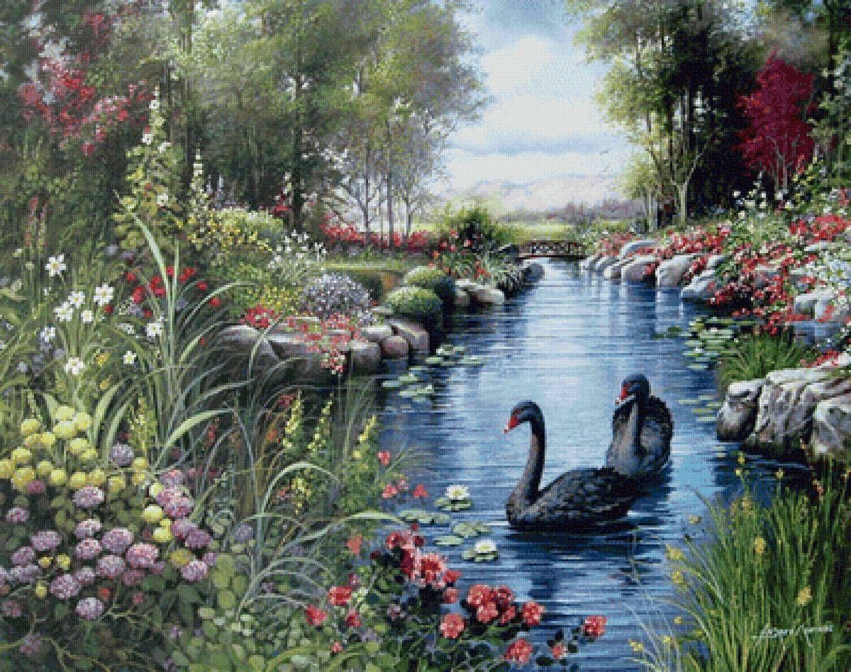 Вышивка пейзажа лебеди на пруду