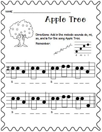 Apple Tree Freebies | MUSIC CLASSROOM | Music worksheets, Music