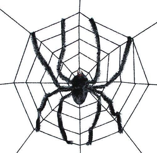 Black spider web 8 ft halloween decoration scary party giant black - giant spider halloween decoration