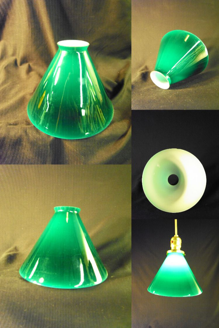 Vintage Emeralite Style Green Over White Slope Shade Slant Etsy Pendant Lamp Shade Replacement Pendant Shades Lamp Shade