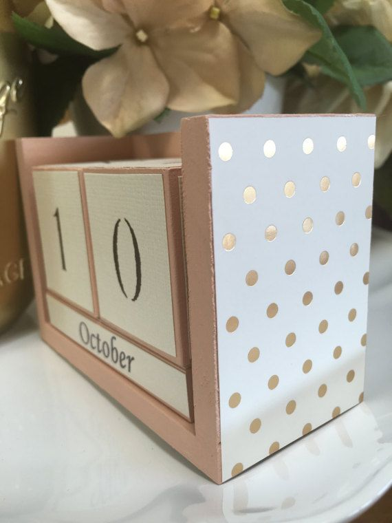 Polka Dot Calendar Gift For Her Desk Supply Perpetual Gold Dots Office Decor Back To School