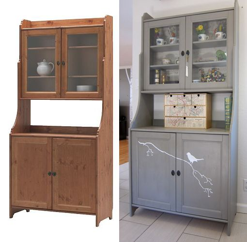 Great Ikea Hutch  Painted Green With Fabric Inside Glass Doors | For The Kitchen  | Pinterest | Glass Doors, Doors And Painted Hutch