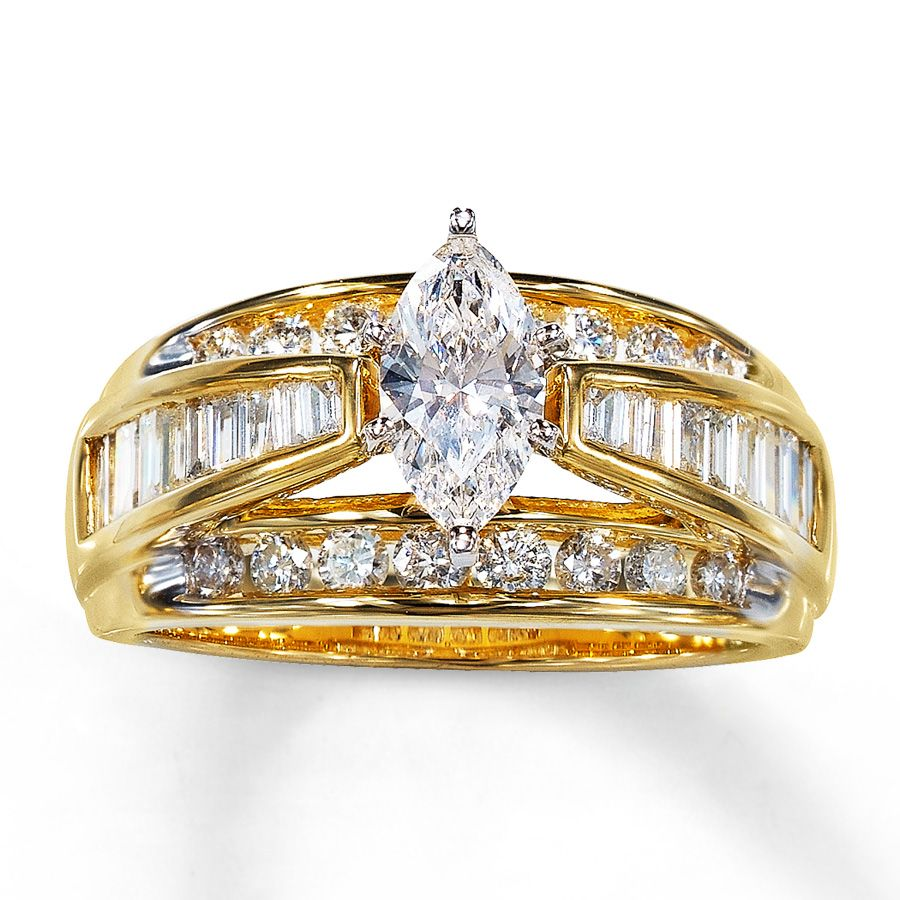 Amazing Kay Diamond Engagement Ring cttw Marquise cut K Yellow Gold