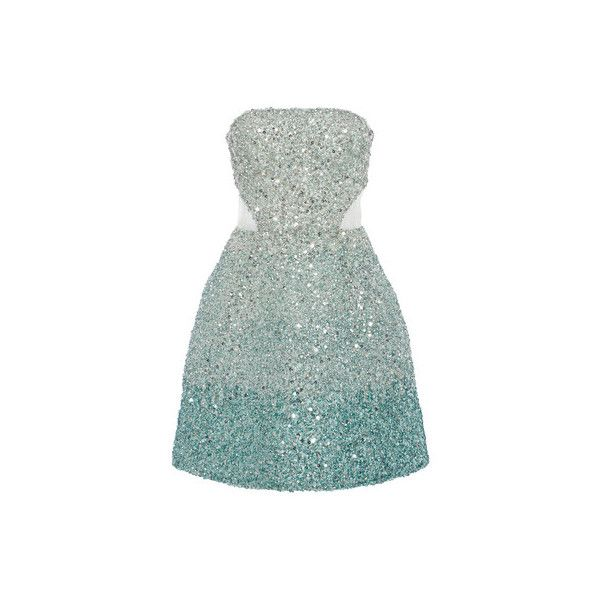 Monique Lhuillier (327.515 RUB) ❤ liked on Polyvore featuring dresses, embroidered dress, cut out dress, fit flare dress, green dress and green cut out dress