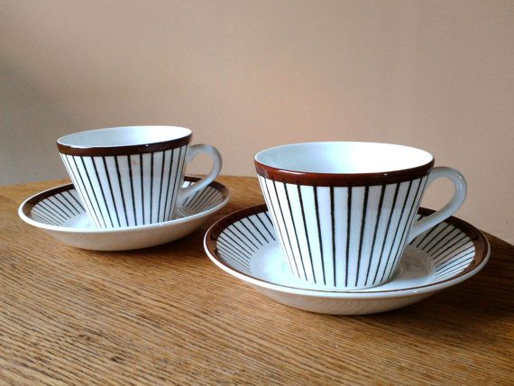 Stig Lindberg Spisa Ribb Cups and Saucers by Scandipots on Etsy