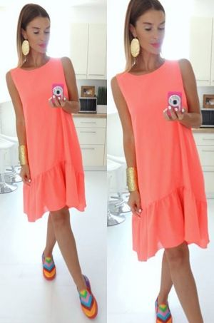e16be526f2f8 Farebné letné šaty voľného strihu