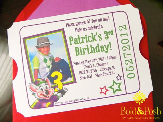 Chuck E Cheese Birthday Invite Chuck E Cheese Birthday Chucky Cheese Birthday Party Birthday Invitations