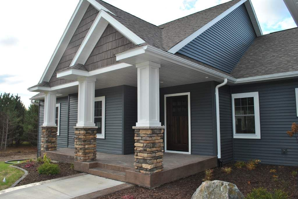 Stamped Concrete Siding : Stamped concrete porch and stone pillars blue siding goes
