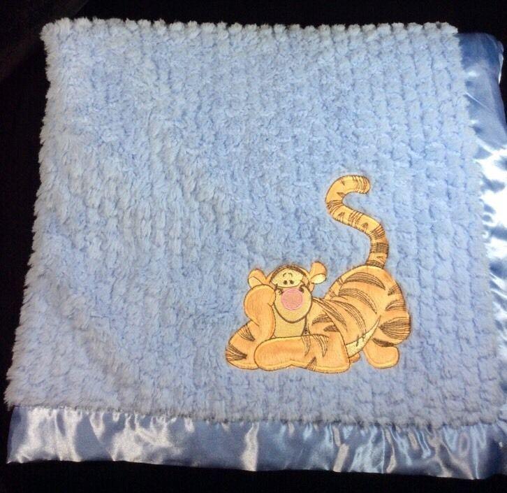 Disney Baby Tigger Blue Plush Blanket Shaggy Satin Trim