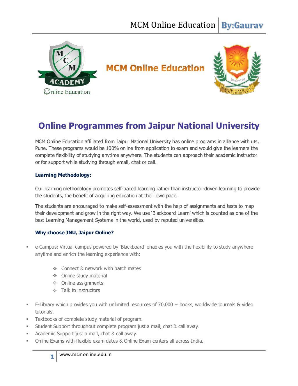 Jaipur national university,jaipur by MCM Online Education via