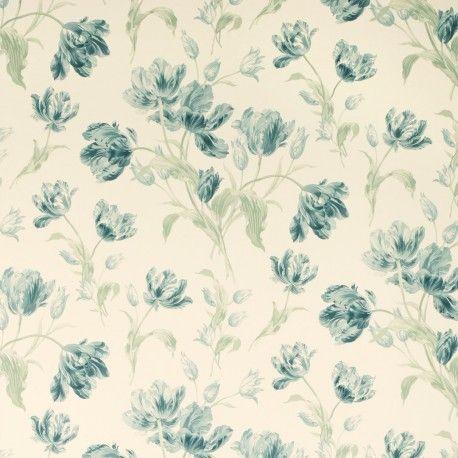 0580edf86c0 Comprar papel pintado gosford meadow azul verdoso de diseño en la Tienda  Online de Laura Ashley Decoracion. precioso papel estampado con tulipanes  en ...