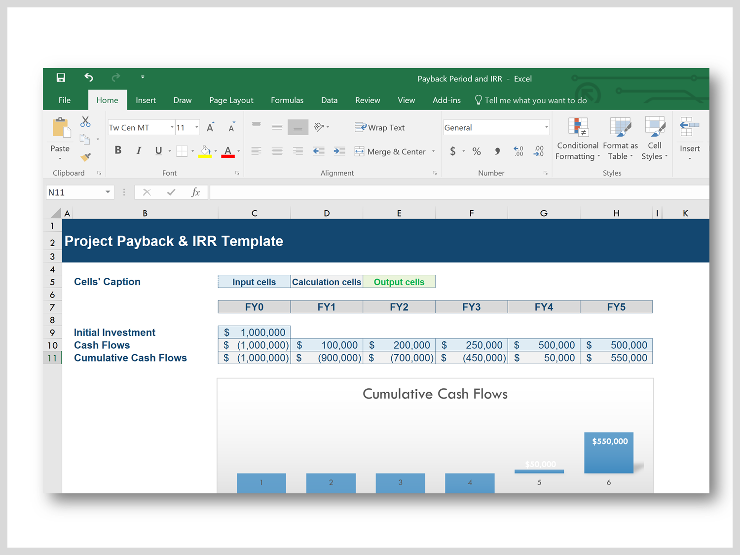 Excel Calculator Cash Flow, NPV, ROI, IRR, WACC & Payback