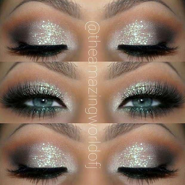 Silver Glitter Eye Makeup Look for Blue Eyes #Eyemakeup #EyeMakeupOrange #glittereyemakeup