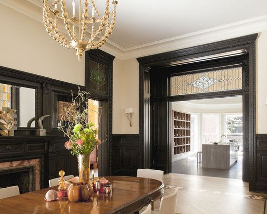 Various Types Of Moldings: Traditional Dining Room Dark