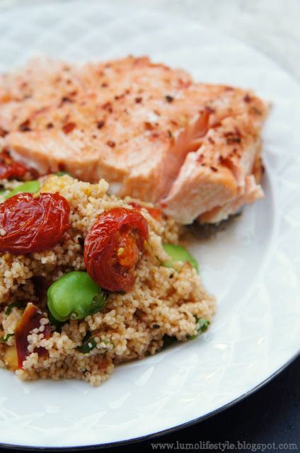 #Salmon with broad bean grapefruit #couscous