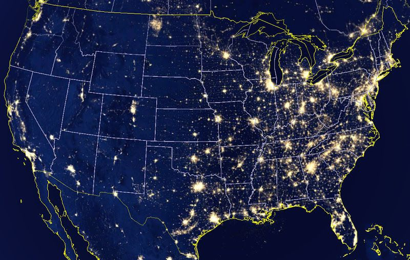 Image result for map of united states at night from space ... on canada at night satellite, world map at night satellite, us map at night satellite,
