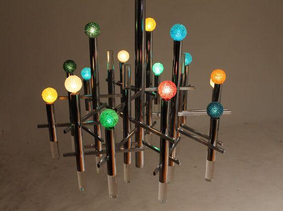 SCIOLARI 15 LIGHTS chrome chandelier mid century by VINTAGELAMPDEN