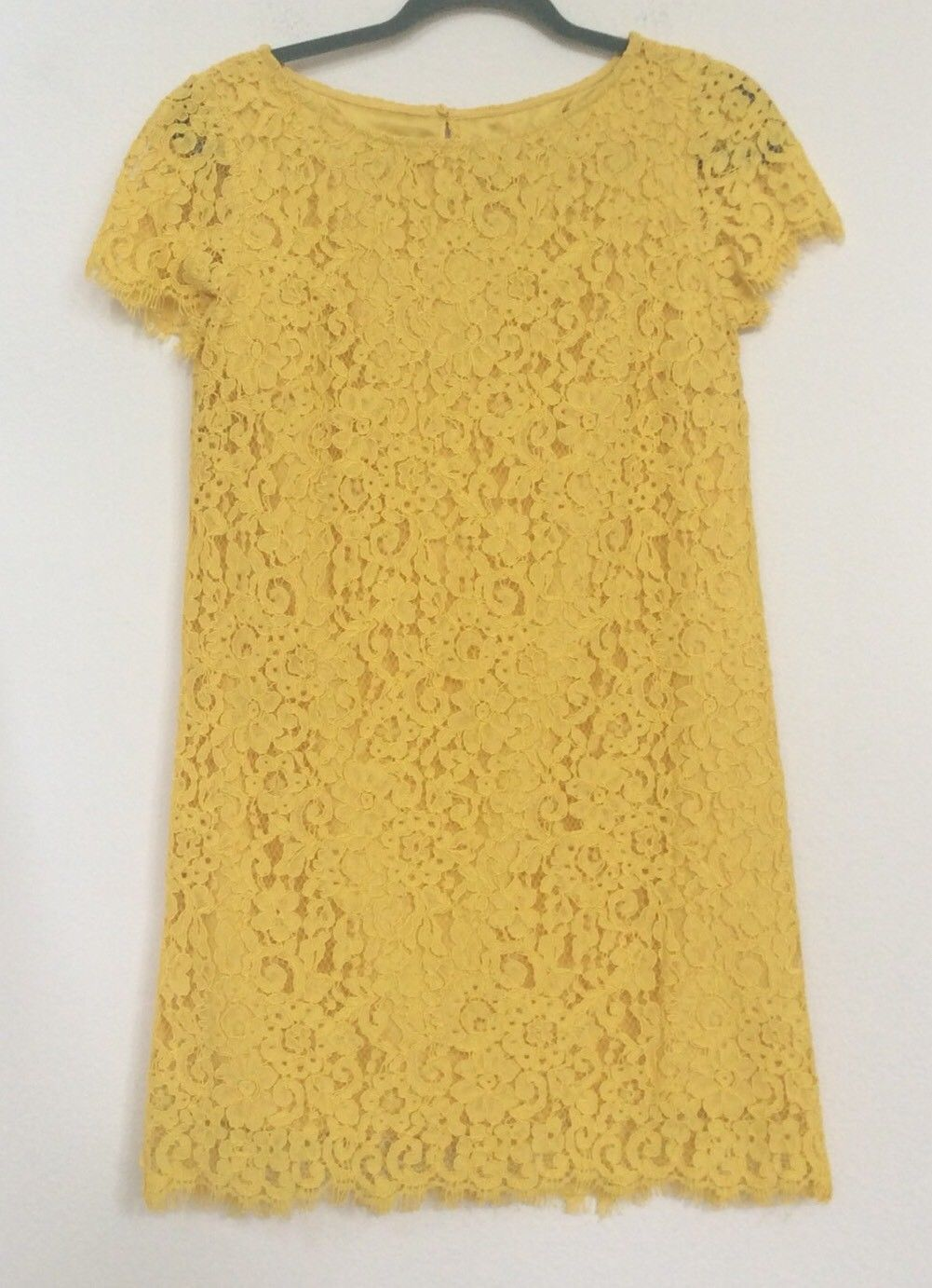 dd037cf90a22bc 40.24 USD   NEW WITH TAGS ZARA Canary Yellow Lace Dress Fully Lined Fringe  Edges Size