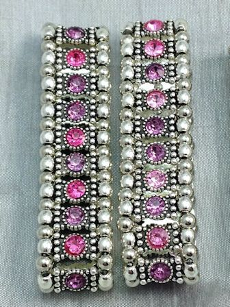 Girls Hot Pink and Soft Pink Single Row Crystal Stretch Bracelets