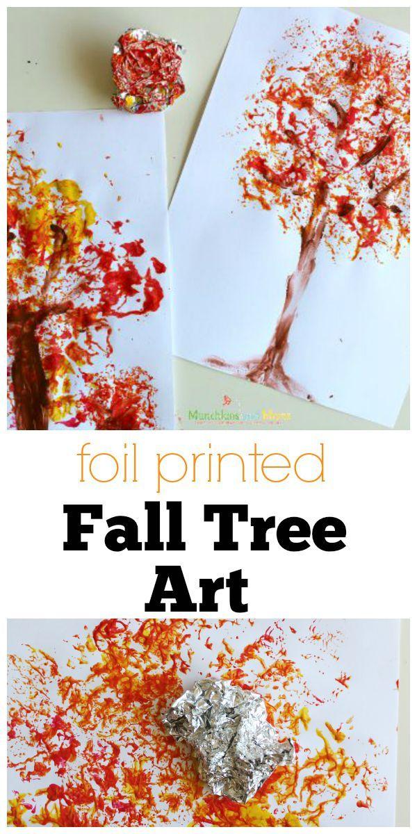 Foil Printed Fall Tree Art Munchkins And Moms Herfstwerkjes Kids Crafts Herfst Activiteiten