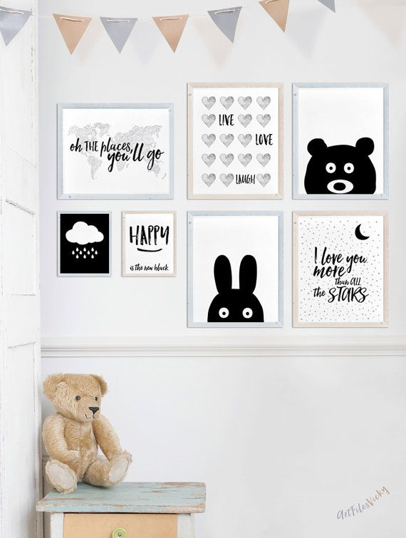 bunny print nursery wall