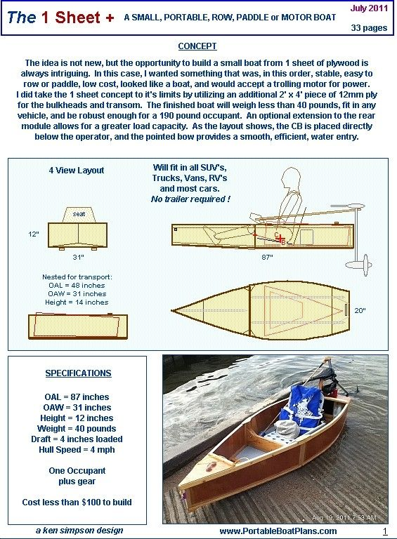 Plan 1 Sheet Wooden Boat Plans Plywood Boat Plans Wood Boat Plans