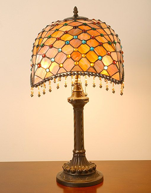 This Elegant Amber Table Lamp Has Been Handcrafted Using Methods First  Developed By Louis Comfort Tiffany