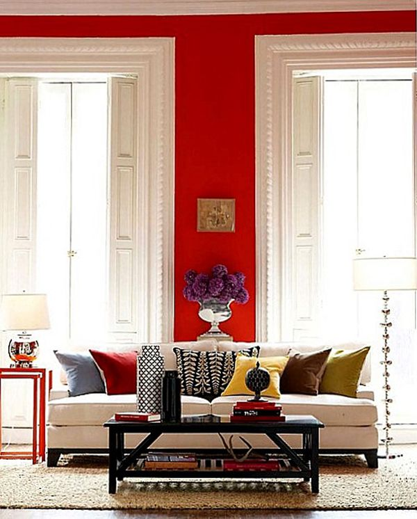 Bold Red Wall Apparently Red Is A Bad Colour For The Bedroom Because It Excites The Brain But I Would Love It Red Living Room Walls Living Room Red Red Rooms #red #wall #living #room #ideas