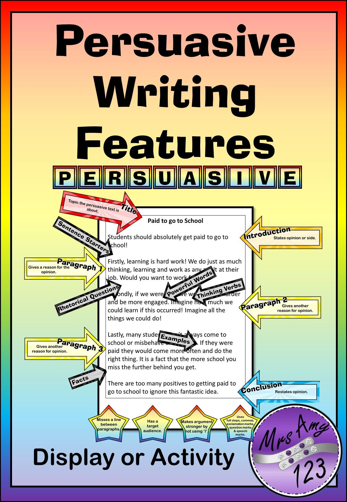 Persuasive Writing Features Display Or Activity