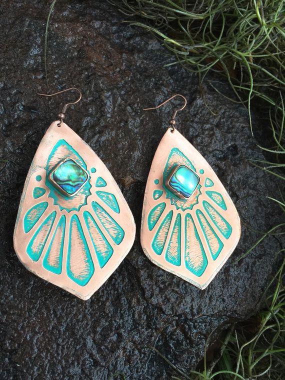 Abalone Shell Copper Teardrop Earrings   Etched by EarthArtistry