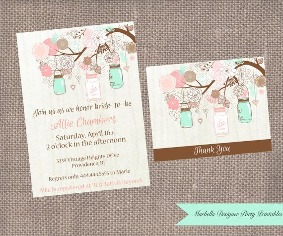 MintCoral Mason Jar Bridal ShowerBaby ShowerBirthday Printable