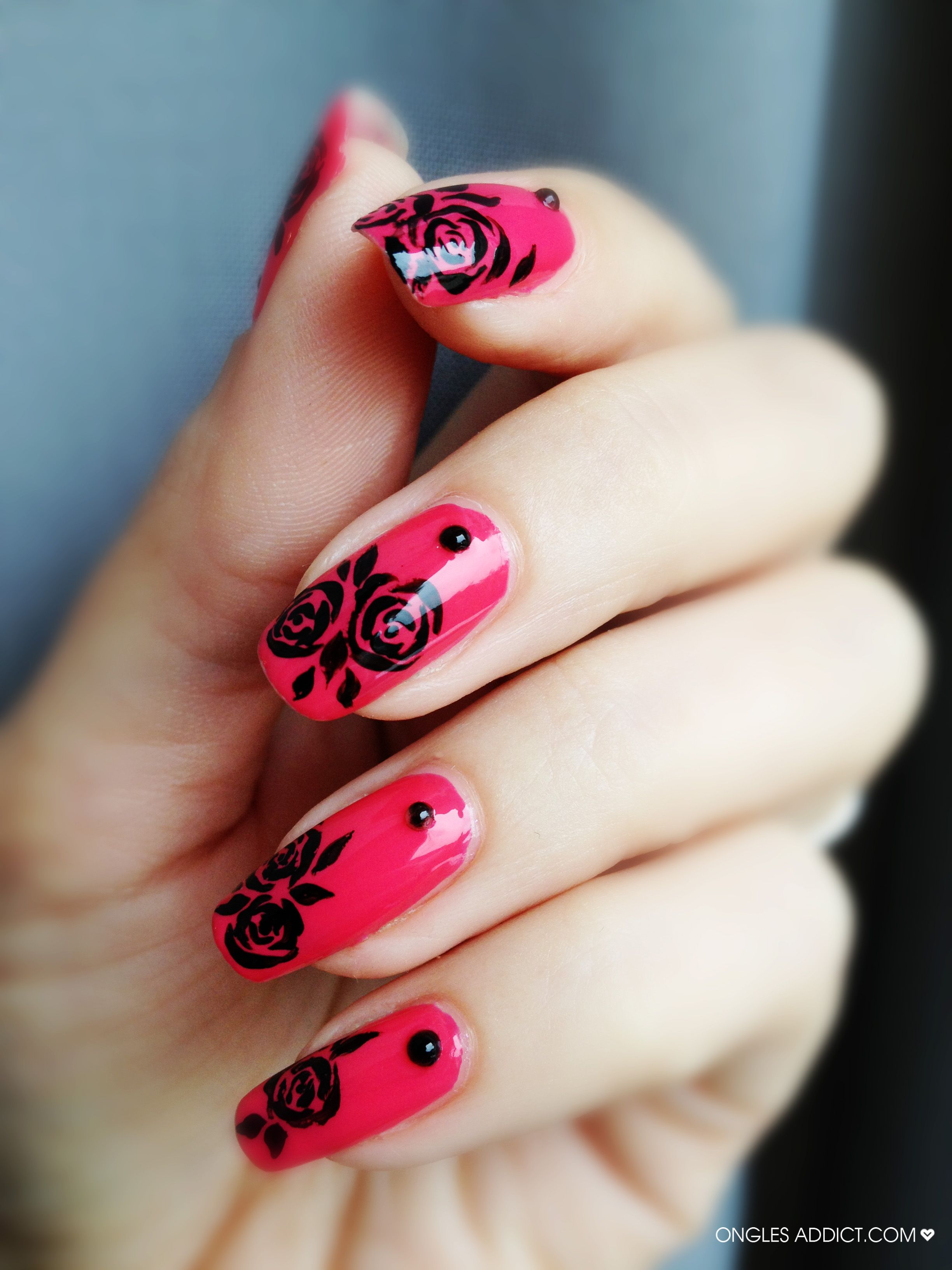 Black Roses Nail Art Ongles Addict Fancy Nails Pinterest