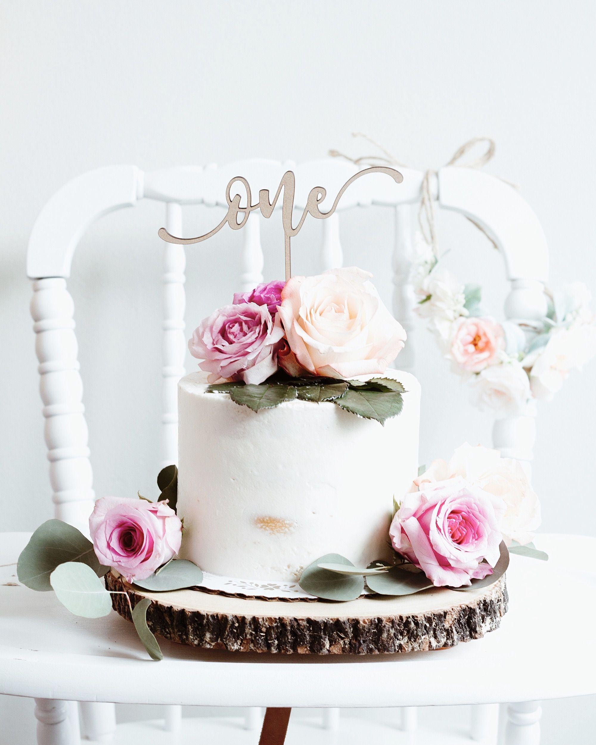 Semi naked cakeFloral 1st birthdayboho 1st birthday