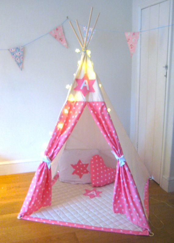 free worldwide shipping personalised pink star teepee tipi wigwam den poles included. Black Bedroom Furniture Sets. Home Design Ideas
