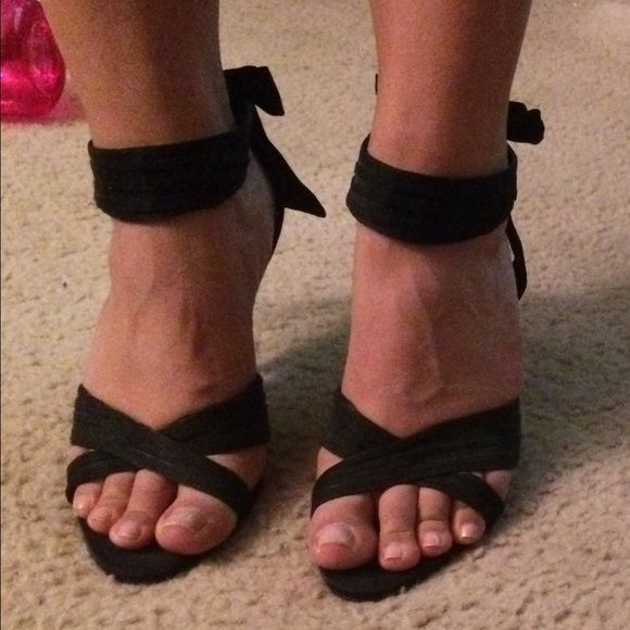 Size 9 Wide black strappy heels I literally wore these maybe 4 times. They are in great condition and super cute! Ask me questions and make me an offer! Torta Caliente Shoes Heels