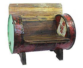 Poltrona in legno e metallo Industrial vintage - 90x57x82 cm ...