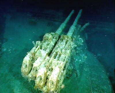 Estado actual de una de las torres antiaereas del Bismarck
