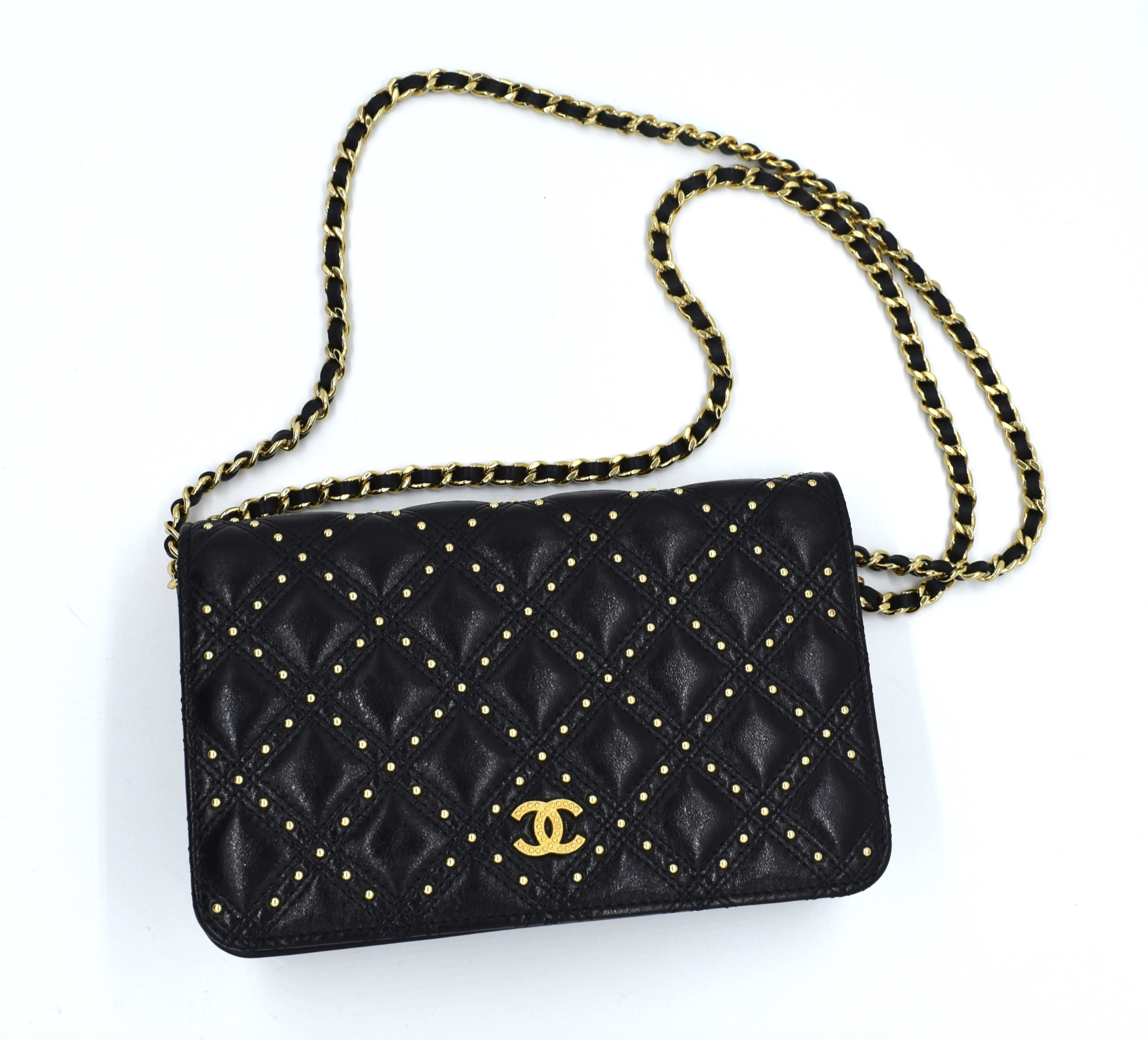 5c5b6cdfa22da Rent this gold studded Chanel bag on DesignerShare.