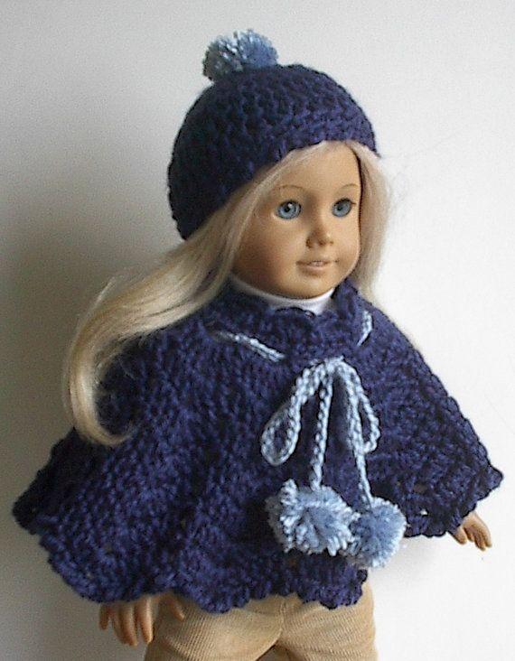 18 pulgadas muñeca ropa ganchillo Poncho azul por Lavenderlore ...