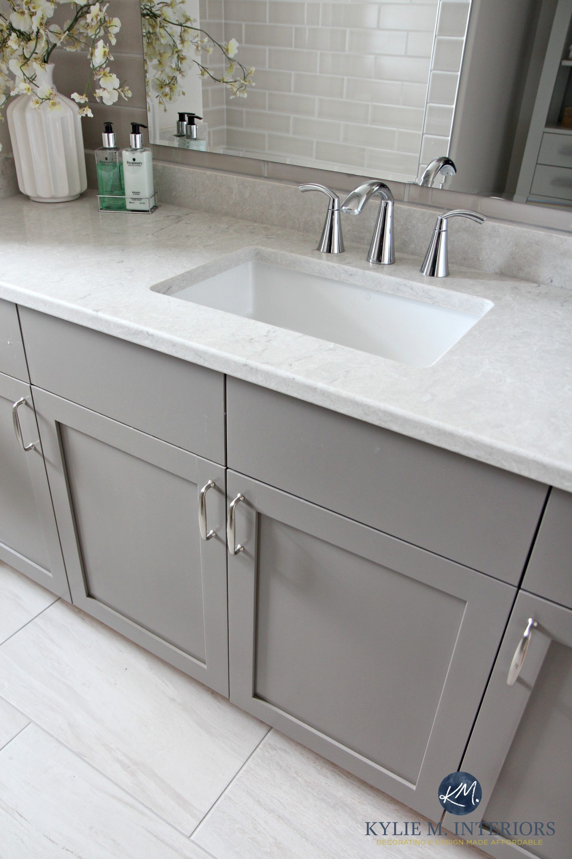 Our bathroom remodel greige subway tile and more bathroom vanity painted metropolis benjamin moore gray caesarstone bianco drift greige quartz