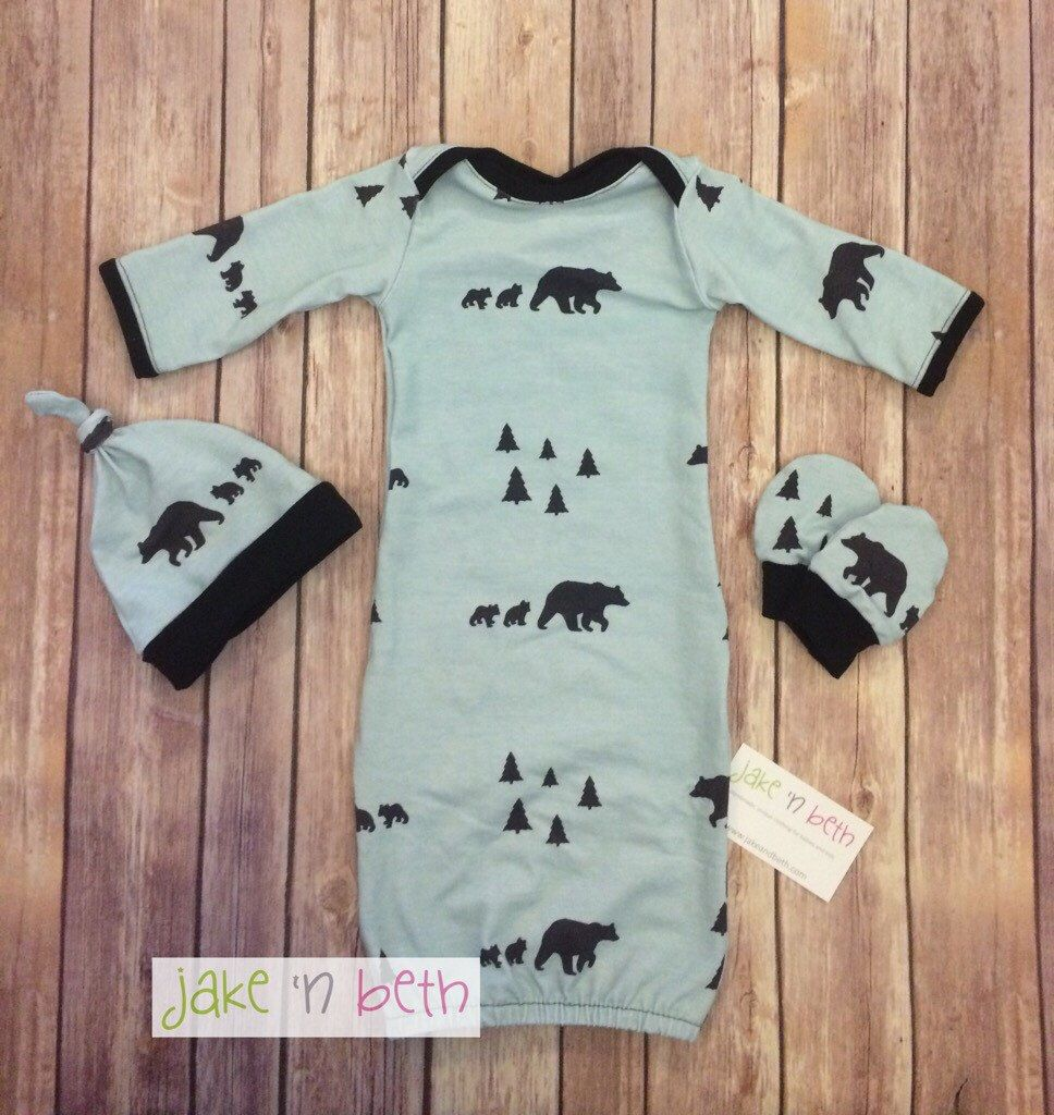 A personal favorite from my Etsy shop https://www.etsy.com/listing/475558876/bear-baby-gown-knot-hat-and-no-scratch