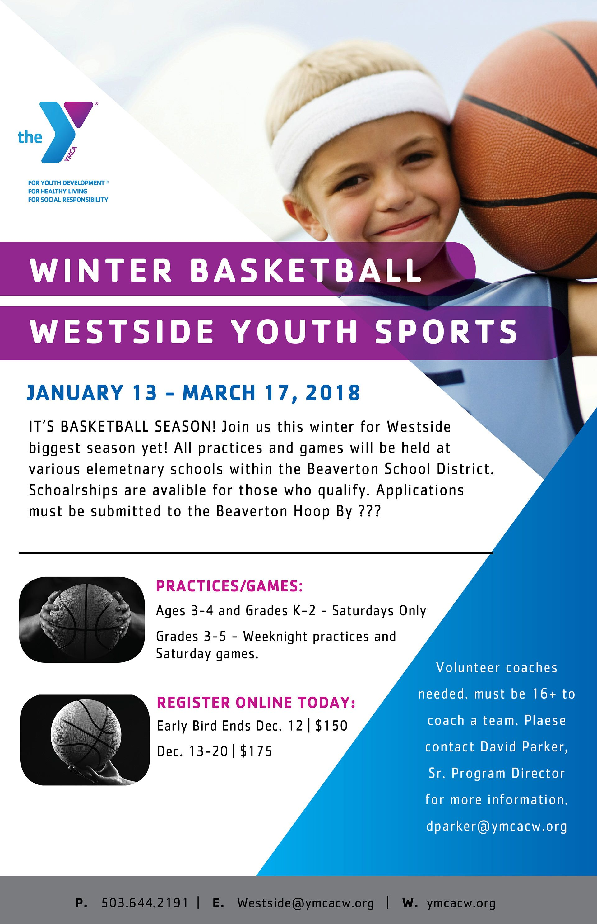 Ymca Of Columbia Willamette Poster Design Westside Youth Sports Department Basketball Leauge Ymca Youth Programs Marketing Poster