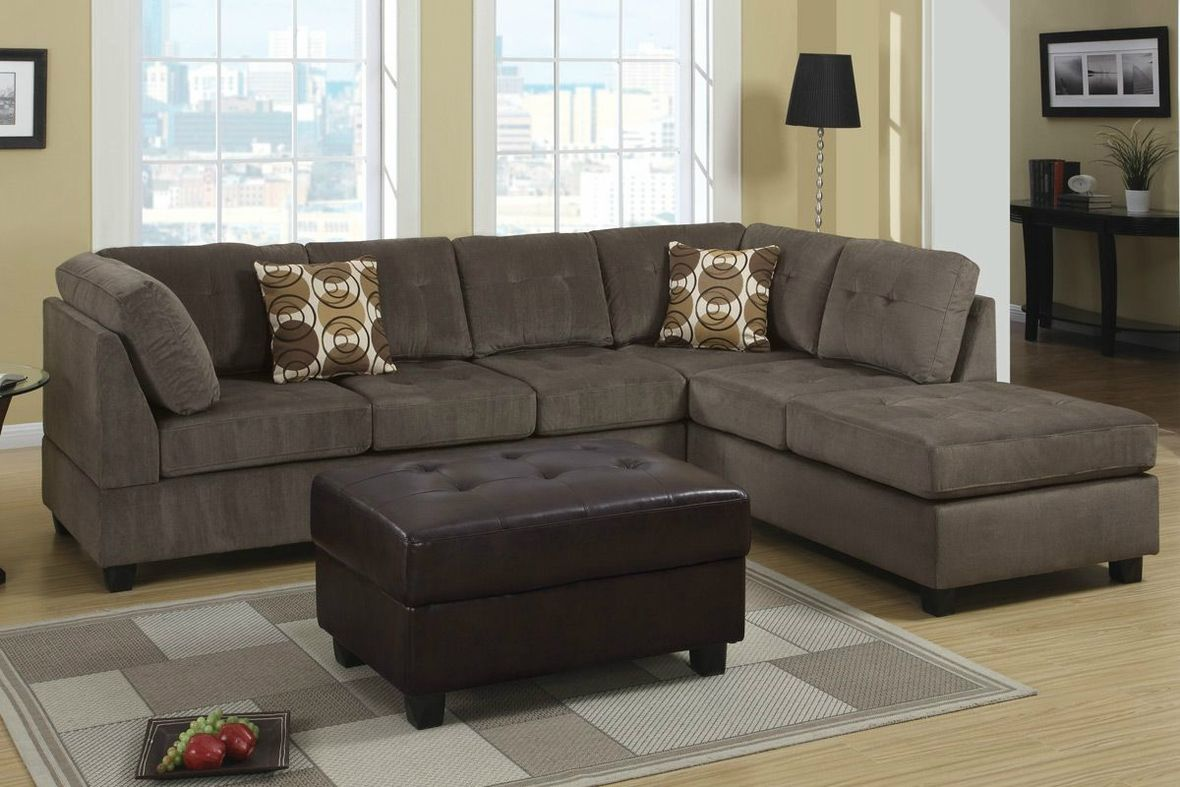 Poundex radford f7263 gray microfiber sectional sofa in los angeles ca