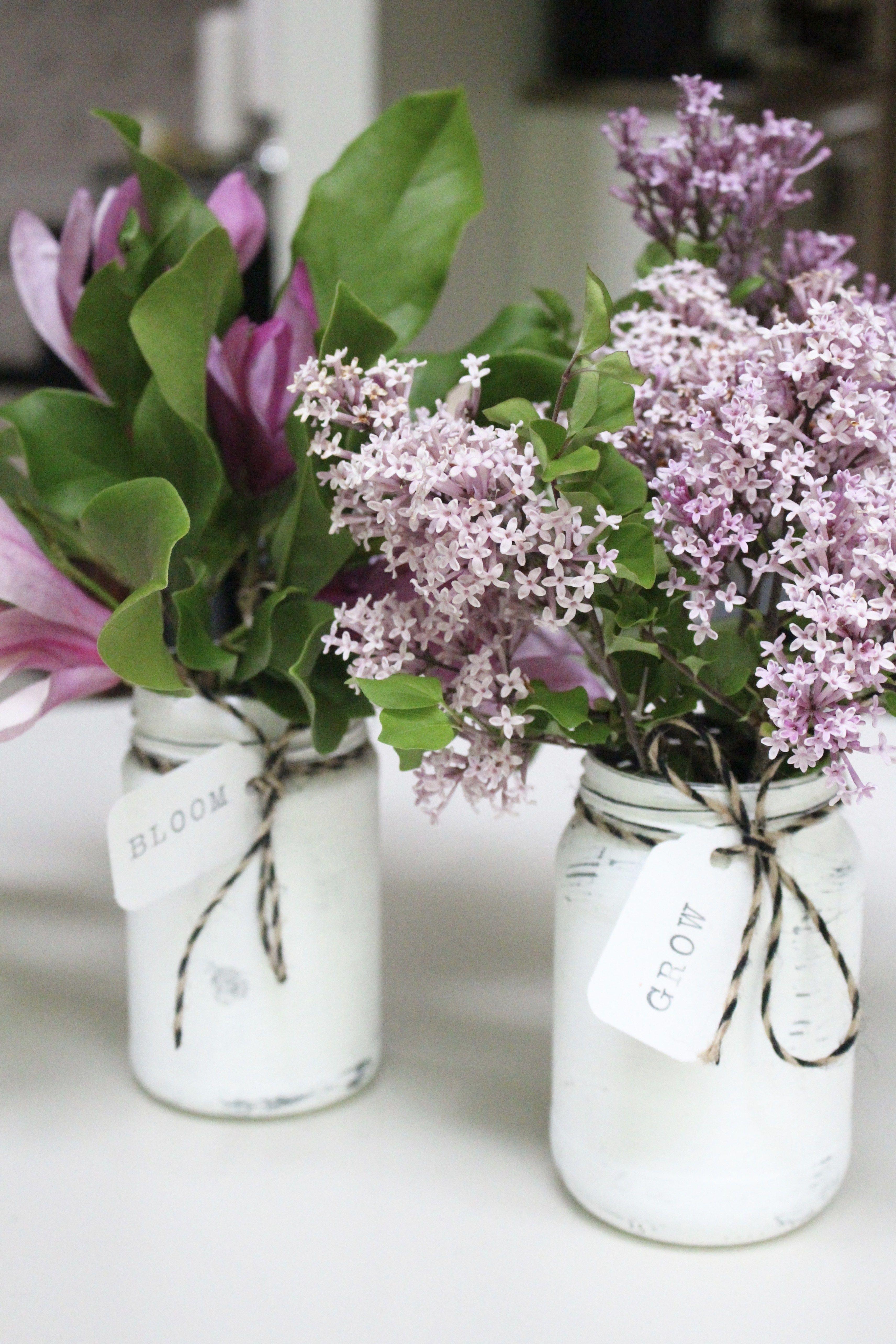 Flower Market\u201d unique gift for floral arranging Chalkboard Black with Hand Lettering Farmhouse Bottle Vases with Jute Bow
