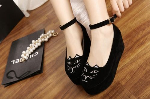 New Womens Fashion Cute Flats Low Heel Round Toe Shoe with Cat Kitty Face Ears | eBay