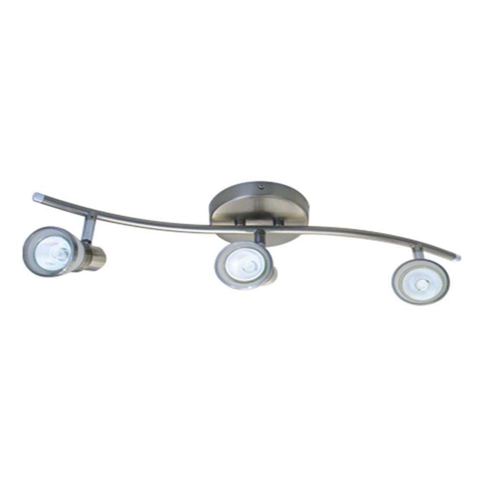 best loved 7c167 15097 BAZZ S-Shaped 3-Light Brushed Chrome Halogen Track Light ...