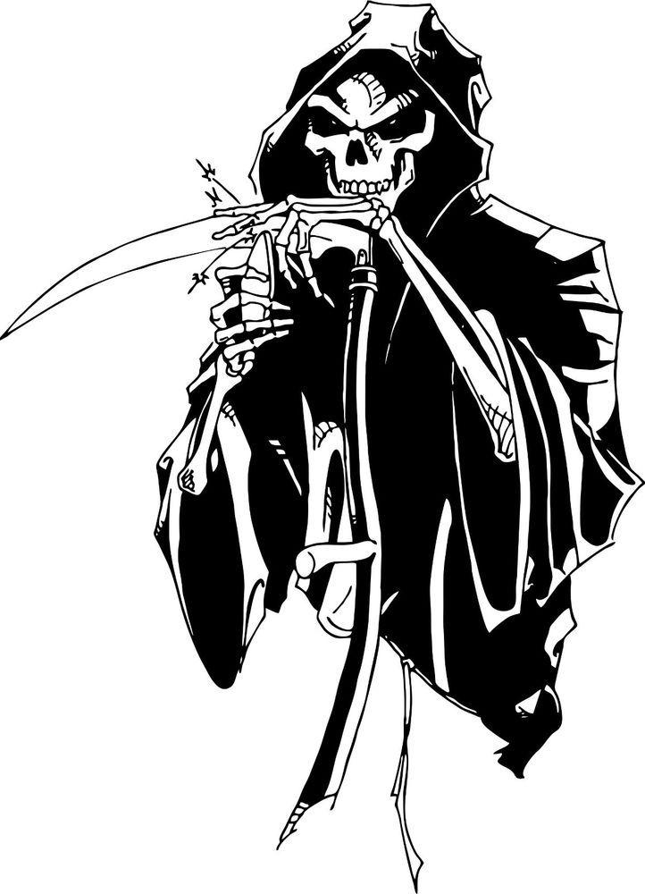 Grim Reaper Sharping Scythe Blade Knife Car Truck Window