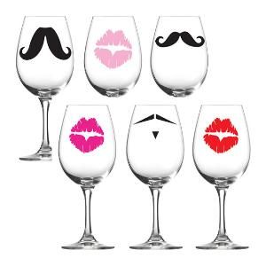 Vinyl Decals Mustache Party with Lady\'s lips